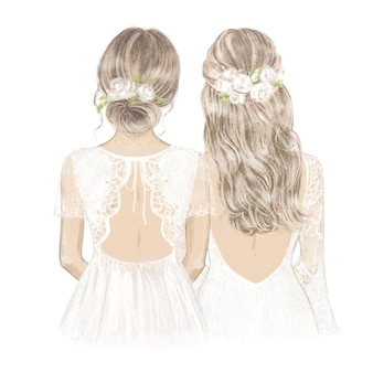 Bride and bridesmaid with white roses in hair hand drawn illustration