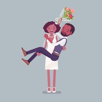 結婚式で新郎を運ぶ花嫁