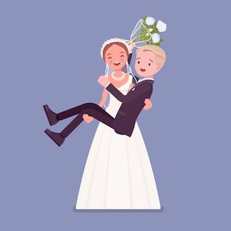 結婚式で新郎を背負う新郎新婦
