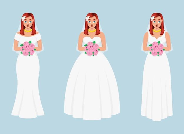 Иллюстрация дизайна невесты, изолированные на синем фоне