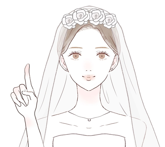 The bride explaining while pointing her finger. on a white background.