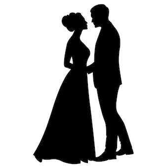 The bride and groom are standing side by side black and white silhouettes