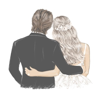 Bride and groom beautiful couple in wedding day hand drawn illustration
