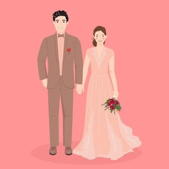 Bride and groom cartoon couple for wedding invitations card