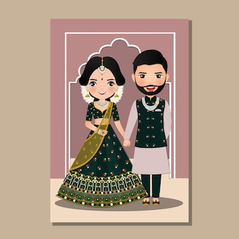 Bride and groom cute couple in traditional indian dress cartoon.