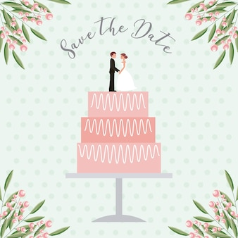 Bride and groom dolls in wedding cake save the date card
