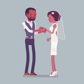結婚指輪セレモニーの新郎新婦交換