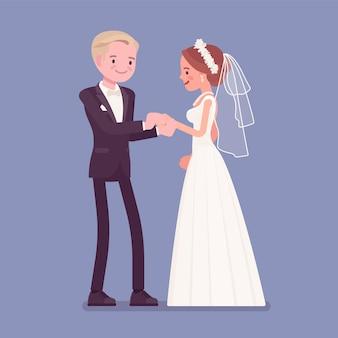 Bride, groom exchange of wedding rings ceremony