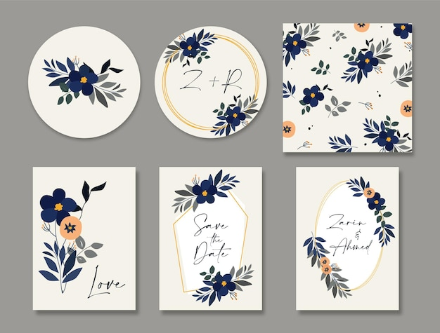Bride and groom floral wedding invitation card set and save the date card template