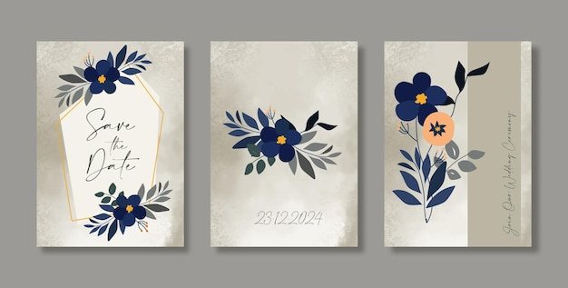 Bride and groom floral wedding invitation card set save the date card template