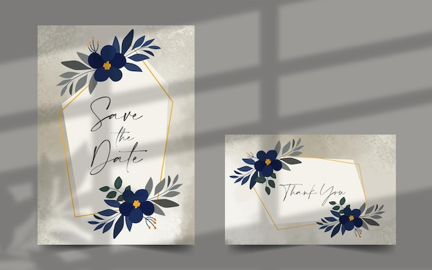 Bride and groom floral wedding invitation card set save the date card thank you card template
