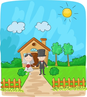 Bride and groom in front of small house