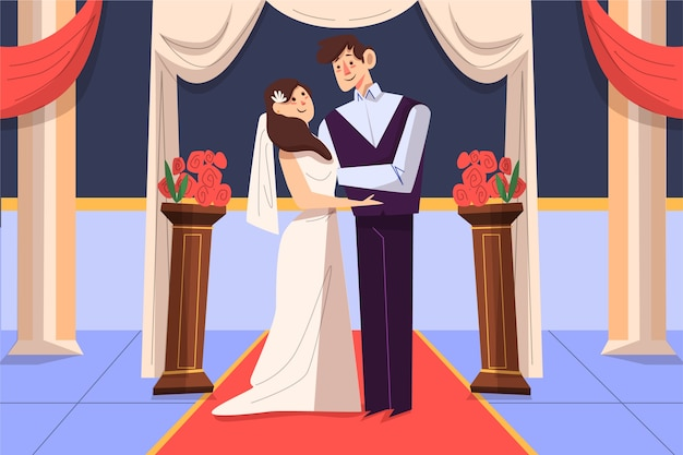 Bride and groom getting married illustrated