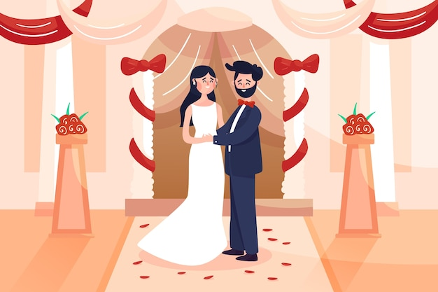 Bride and groom getting married illustration
