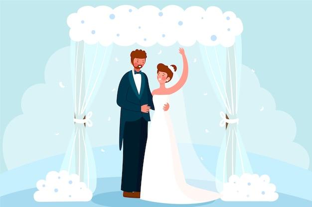 Bride and groom getting married