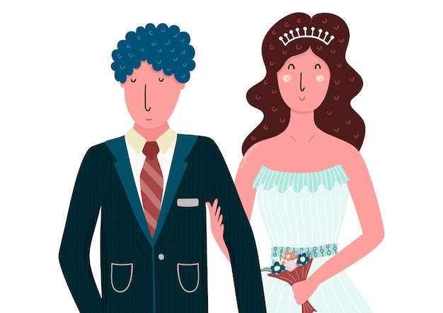 Bride and groom happy couple. isolated people in flat style