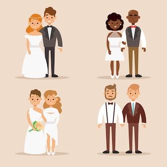 Raccolta dell'illustrazione dello sposo e della sposa