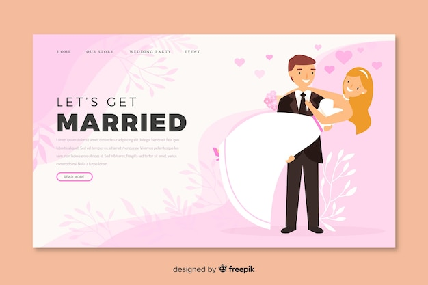 Bride and groom illustration on wedding landing page template