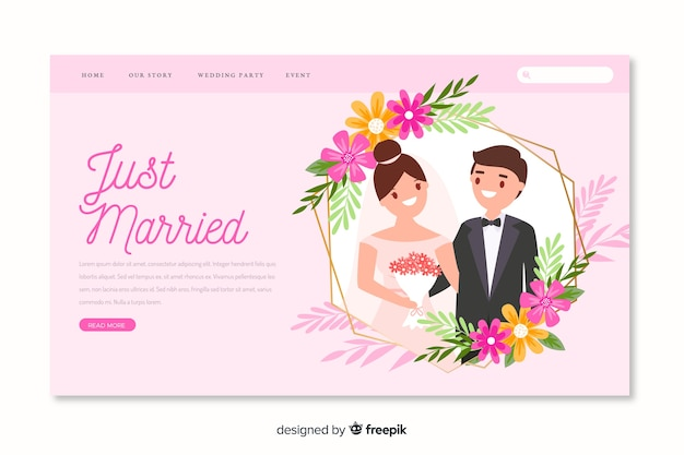 Bride and groom illustration on wedding landing page
