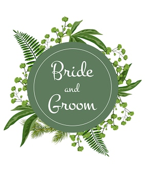 Bride and groom lettering on green circle with greenery on white background.