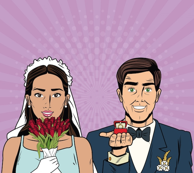 Bride and groom pop art cartoon