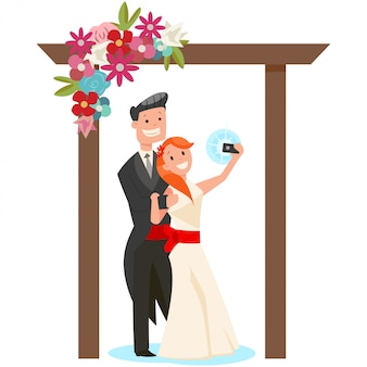 Bride and groom on the  a wedding arch of flowers  cartoon illustration isolated on white background.