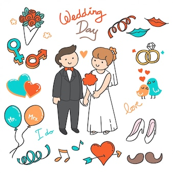 Bride and groom, wedding elements doodle