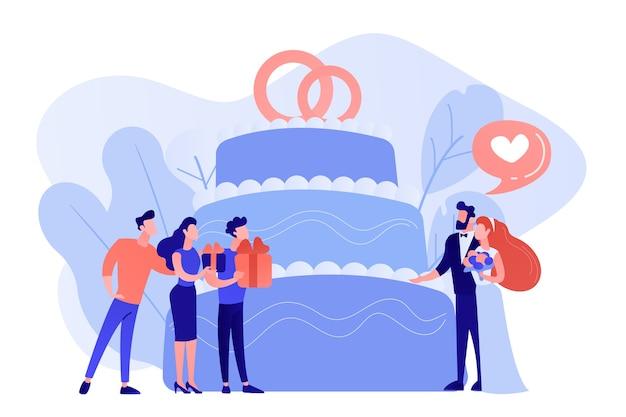 Sposa e sposo alla festa di matrimonio e ospiti con regali alla grande torta. organizzazione di feste di matrimonio, idee per feste nuziali, abiti da damigella d'onore e concetto di abiti. pinkish coral bluevector illustrazione isolata