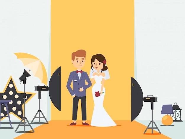 Bride and groom at wedding photoshoot in photo studio,   illustration. newlywed couple cartoon character, professional photography equipment. husband and wife
