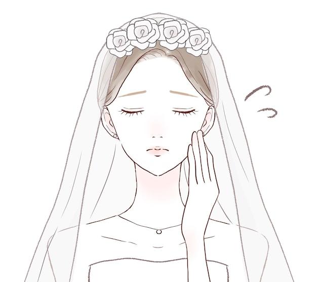 彼女の頬に彼女の手で困っている花嫁。白い背景に。