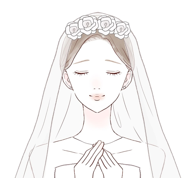 The bride is relieved with her hands on her chest. on a white background.