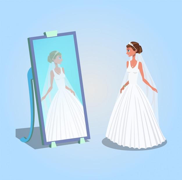 Bride looking in mirror cartoon character.
