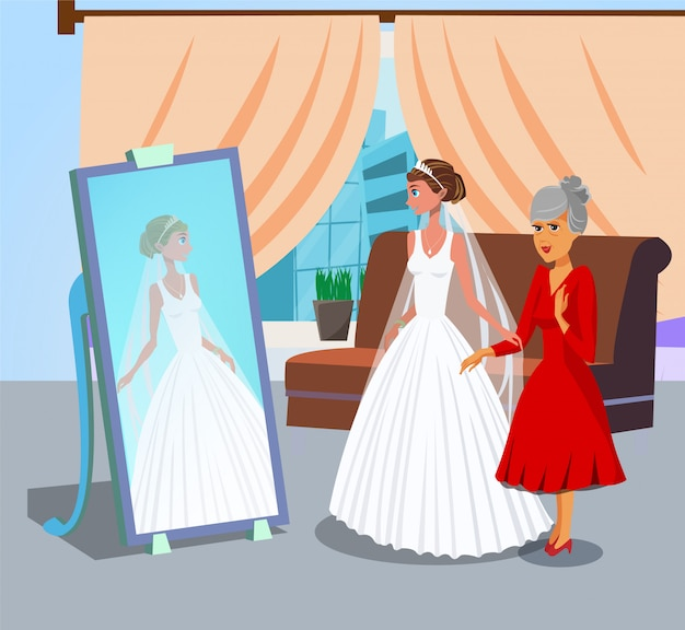 Bride looking in mirror flat vector illustration.
