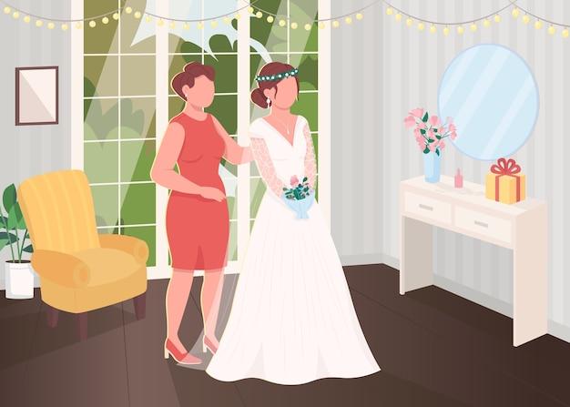 Подготовка невесты с плоской цветной иллюстрацией подружки невесты