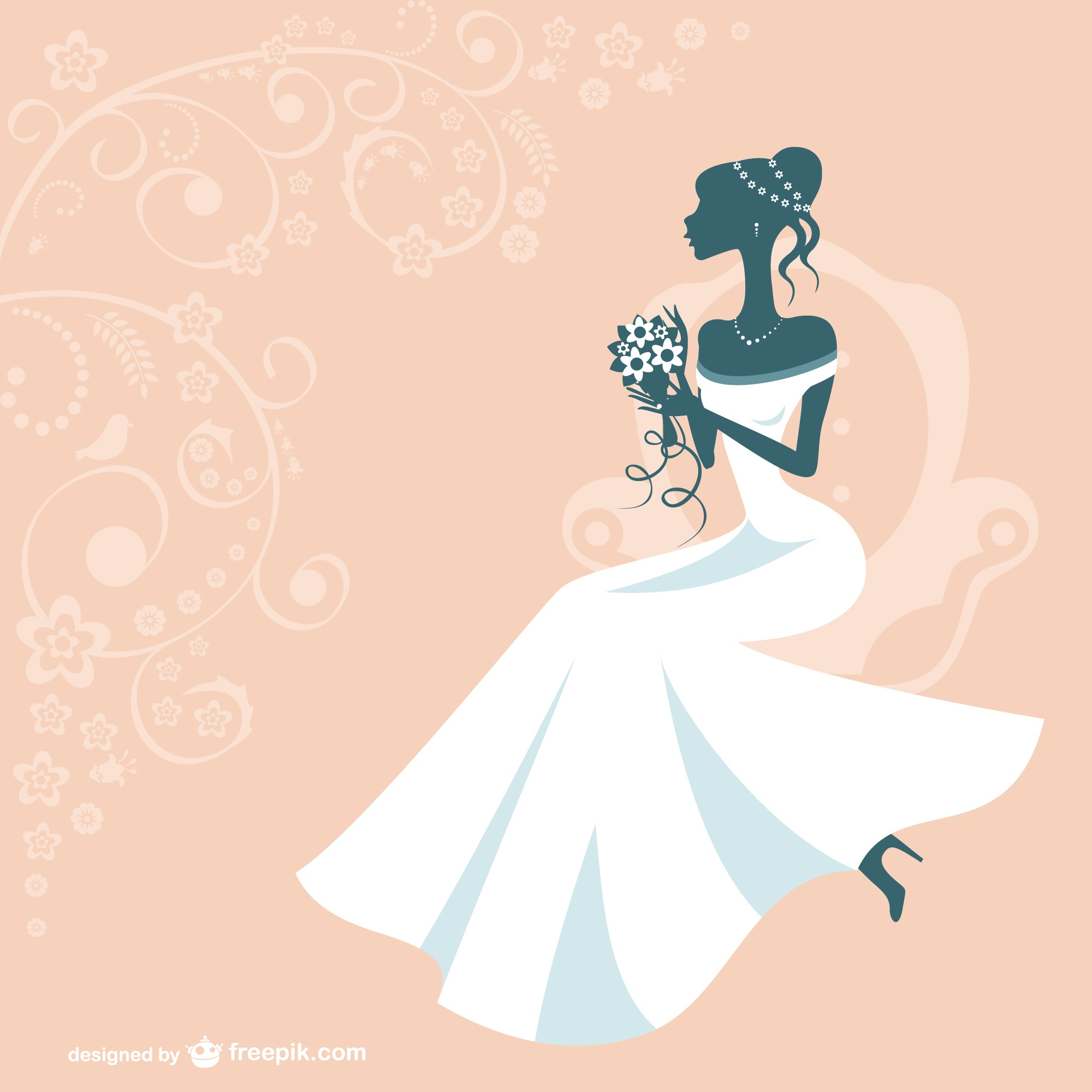 Bride silhouette with white wedding dress and orange background