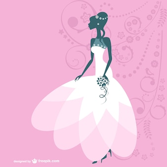 Bride silhouette with white wedding dress and pink background