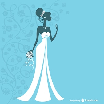 Bride silhouette with white wedding dress