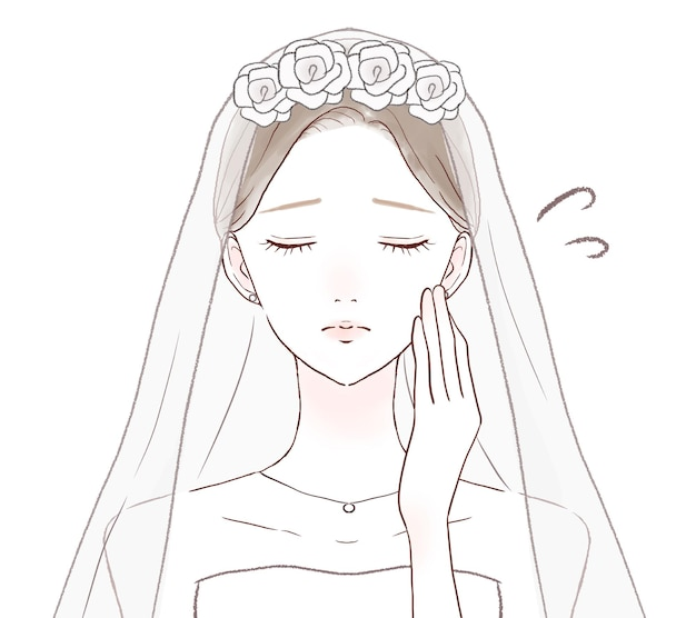 Bride in trouble with her hands on her cheeks. on a white background.