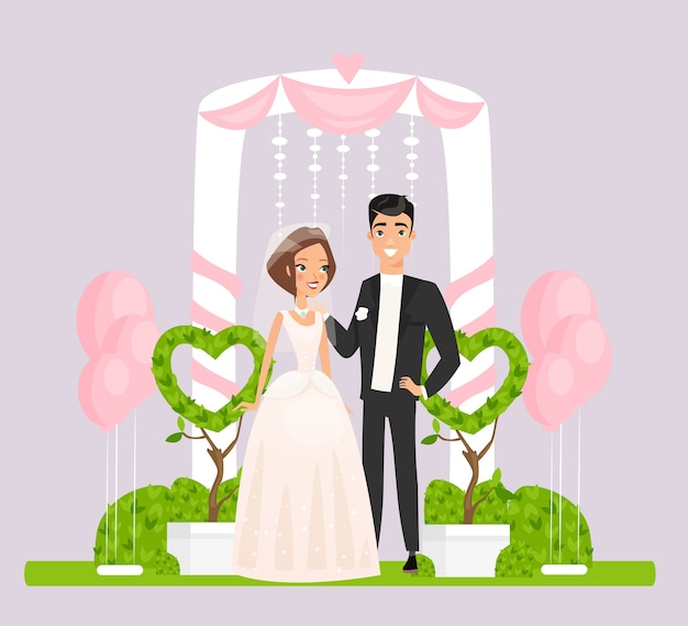 Bride in white dress and groom standing near beautiful arch decorated with hearts and pink balloons