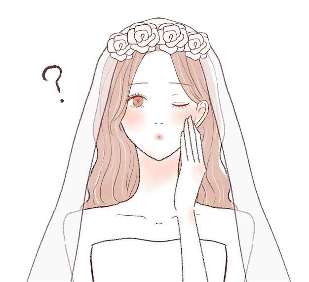 疑問を持っている花嫁。白い背景に。