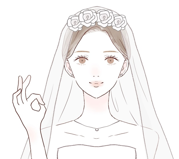 The bride who is inging the ok sign. on a white background.