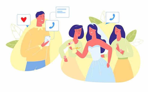 Невеста с подружками невесты отправляет фото другу