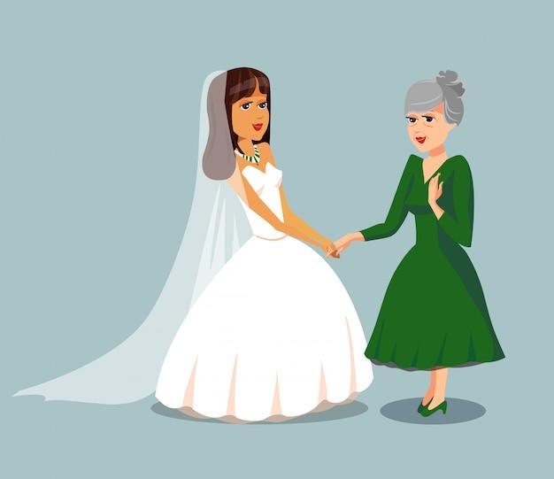 Bride with elderly mother vector design element.