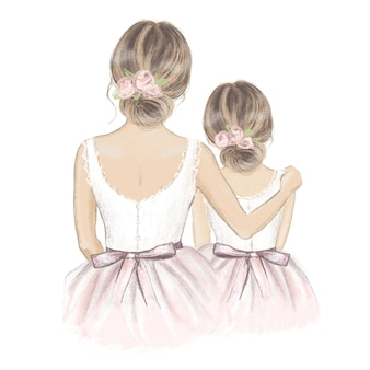 Bride with flower girl hand drawn illustration