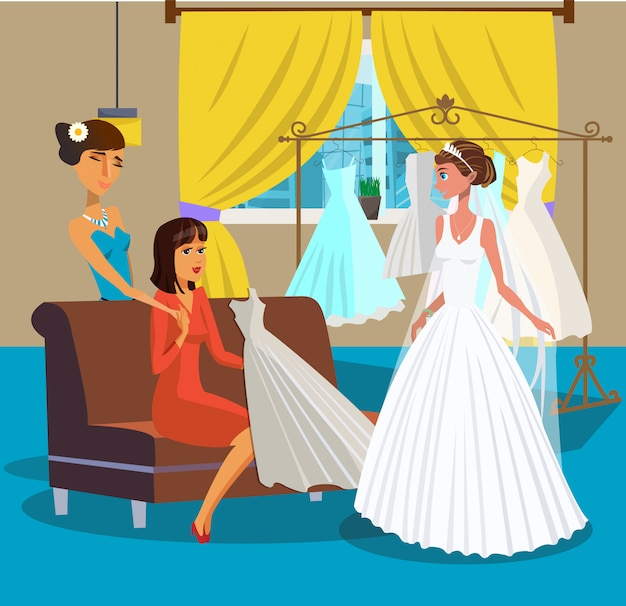 Bride with friends in wedding salon illustration.