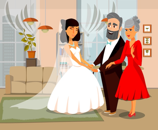 Bride with parents cartoon vector illustration