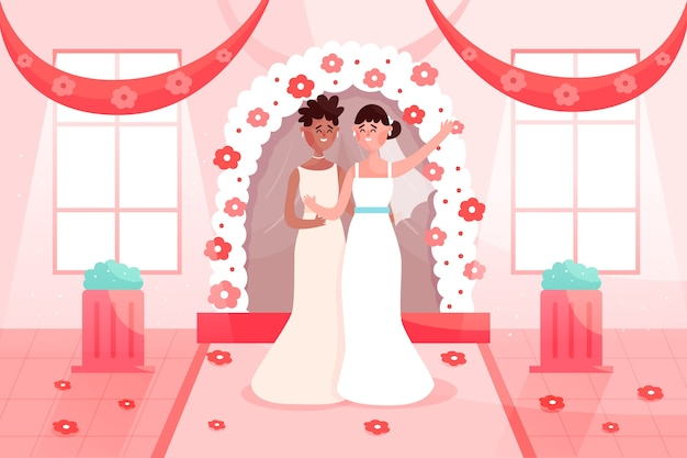 Brides getting married illustration