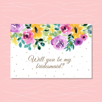 Bridesmaid card with floral watercolor