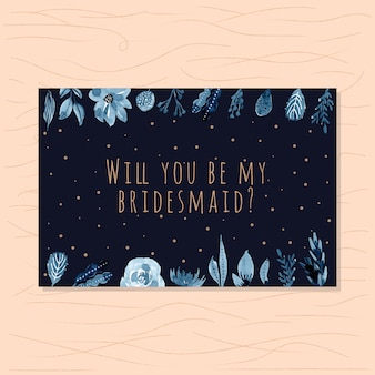 Bridesmaid card with navy florals and dark background