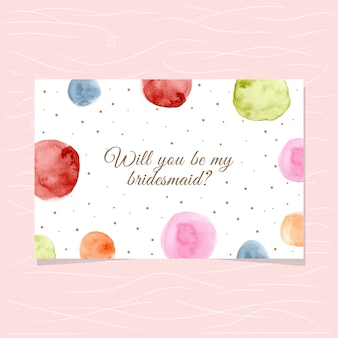 Bridesmaid card with watercolor circle background